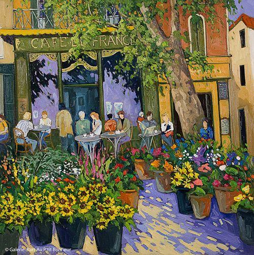 Robert Savignac, 'Café de France', 30'' x 30'' | Galerie d'art - Au P'tit Bonheur - Art Gallery
