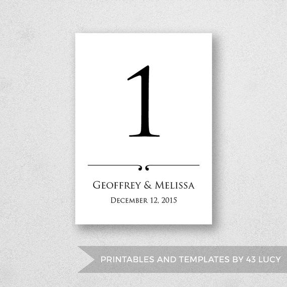 Best Wedding Table Number Templates Images On
