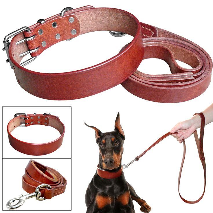 Heavy Duty Plain Leather Pet Dog Collar Leash Set Adjustable For Small Medium Large Dog Breed Pitbull Boxer Bulldog S -2XL Brown // Worldwide FREE Shipping //     #petsupplies