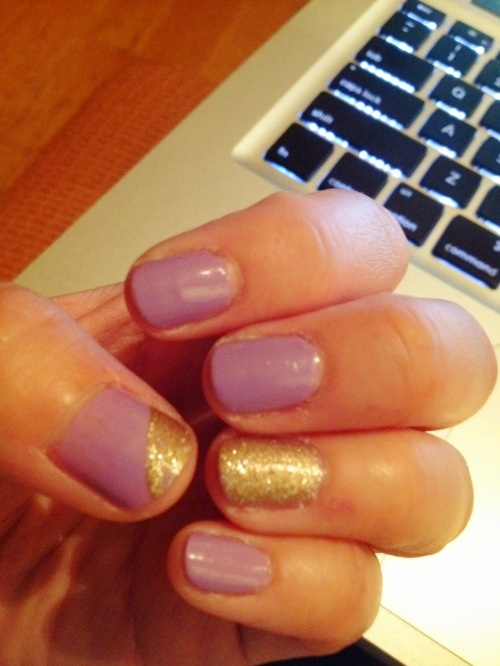 Purple And Gold Nails Designs
