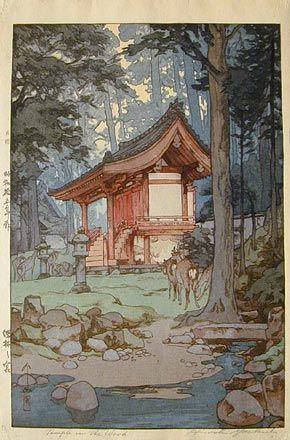 Hiroshi Yoshida (1876-1950): A Shrine in the Deep Woods, woodblock print, 1940.