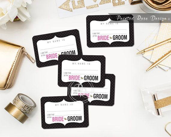 Invite your guests to get to know each other with these printable name tags. Great for engagement parties, bridal showers, bachelor/ bachelorette parties or rehearsal dinners!  Each tag measures 2- 1/3 x 3-3/8 and comes 8 per sheet. They have been designed to fit the following Avery adhesive badge templates: 15395, 25395, 42395, 45395, 48395, 5395, 8395, 88395, 85395. The file also includes trim lines for easy cutting if you prefer to print on plain cardstock and slip into 3 x 4 plastic tag…