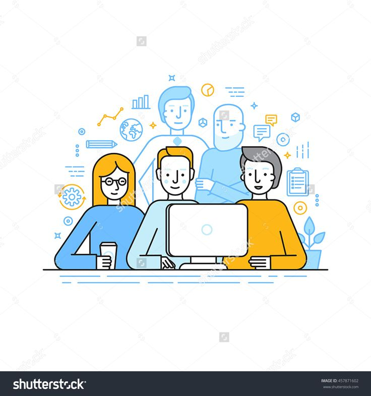 Vector illustration in trendy flat linear style - creative team working on a website for start up business - men and woman working at the computer - human resources and career opportunities
