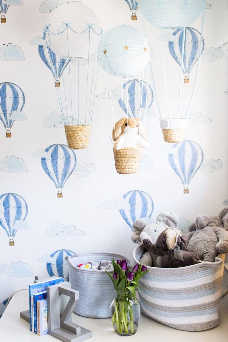 Hot air balloon wallpaper + nursery decor