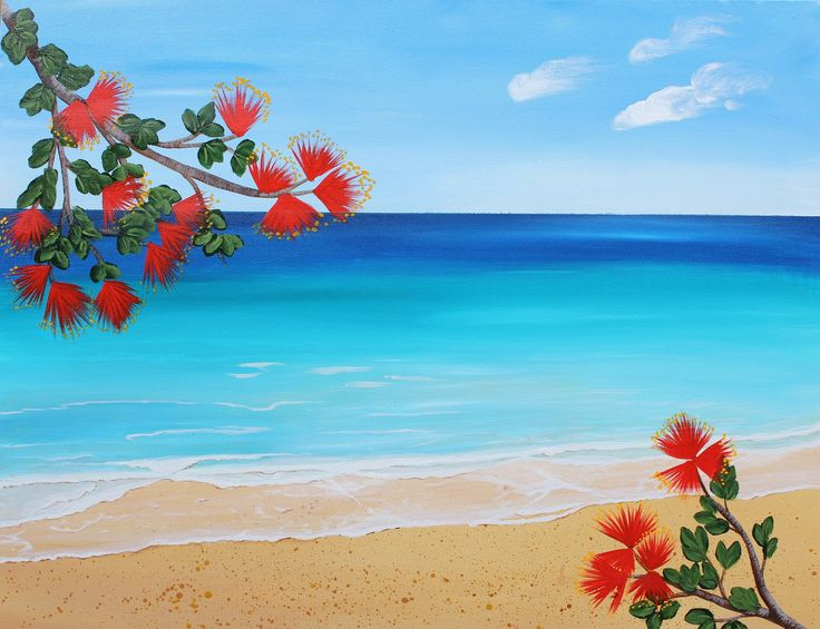 New Zealand at its best with Pohutukawa flowers, artist Claire-Erica