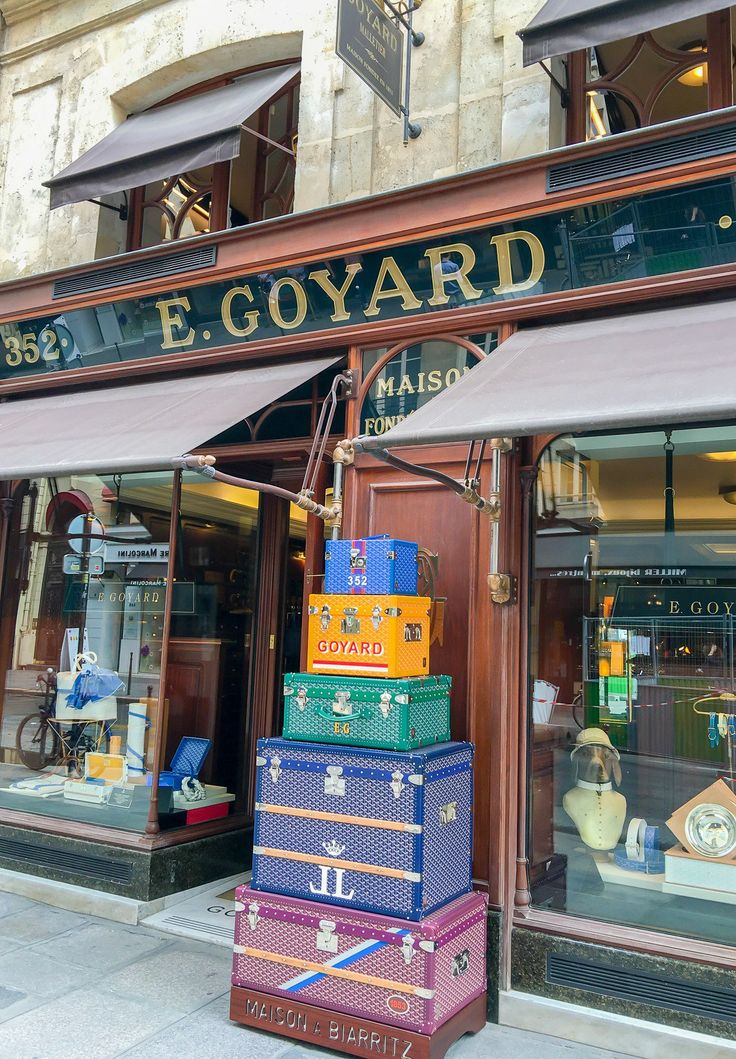 The iconic Goyard trunks in front of the rue Saint-Honoré boutique.