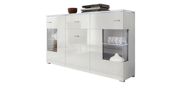 SIDEBOARD Hochglanz, melaminharzbeschichtet Weiß - Silberfarben/Weiß, MODERN, Glas/Holz (150/91/37cm) - CARRYHOME