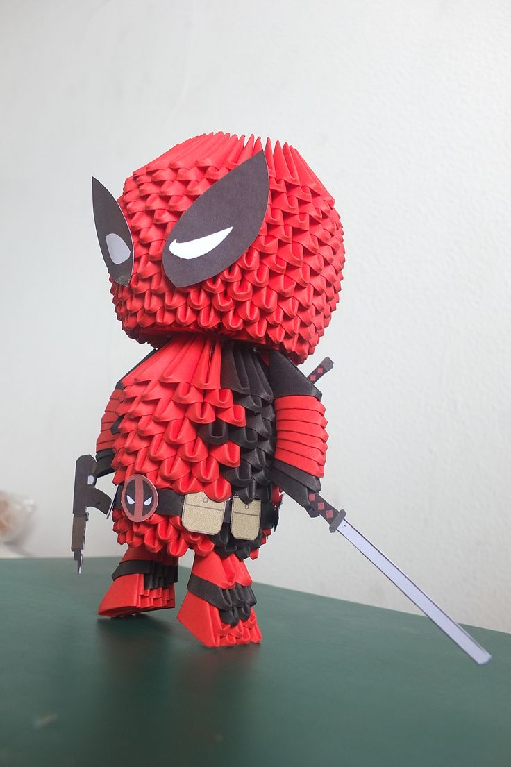 3D origami Deadpool | 3d origami | Origami, 3D Origami ...