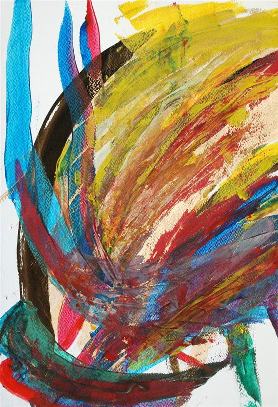 Abstract modern original watercolor painting, handmade artwork, decorative design, home decor,