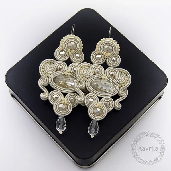 Celine ivory soutache - kolczyki ślubne sutasz KAVRILA #sutasz #kolczyki #ślubne #rękodzieło #soutache #handmade #earrings #wedding #ivory #kavrila