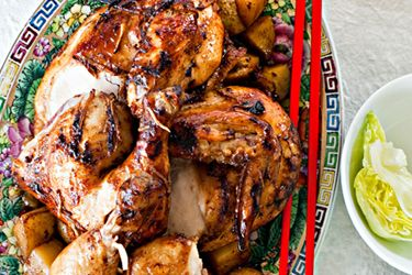 Black bean and ginger roast chicken
