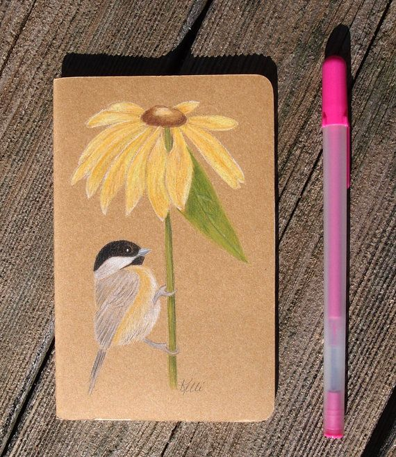 Black-capped Chickadee Hand Painted Notebook  by KelliMcNicholsArt