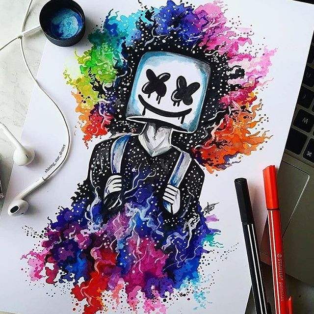 Marshmello With Rainbow Galaxy 🌈🎧 Marshmellomusic By
