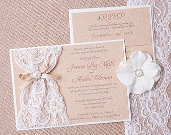 AMY: Kraft and Lace Wedding Invitation Unique by peachykeenevents