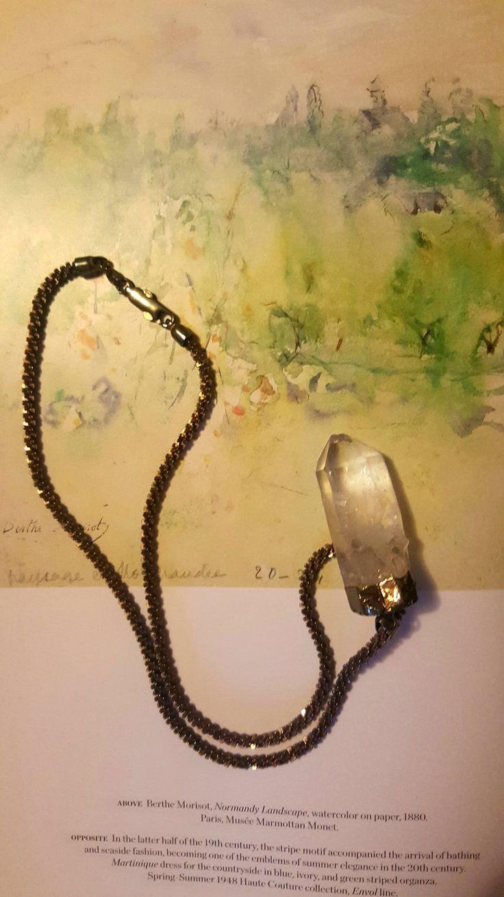 Crystal Cult Quartz Pendant Necklace, clear quartz pendant, healing crystal, real silver necklace, patina silver necklace, vintage chain