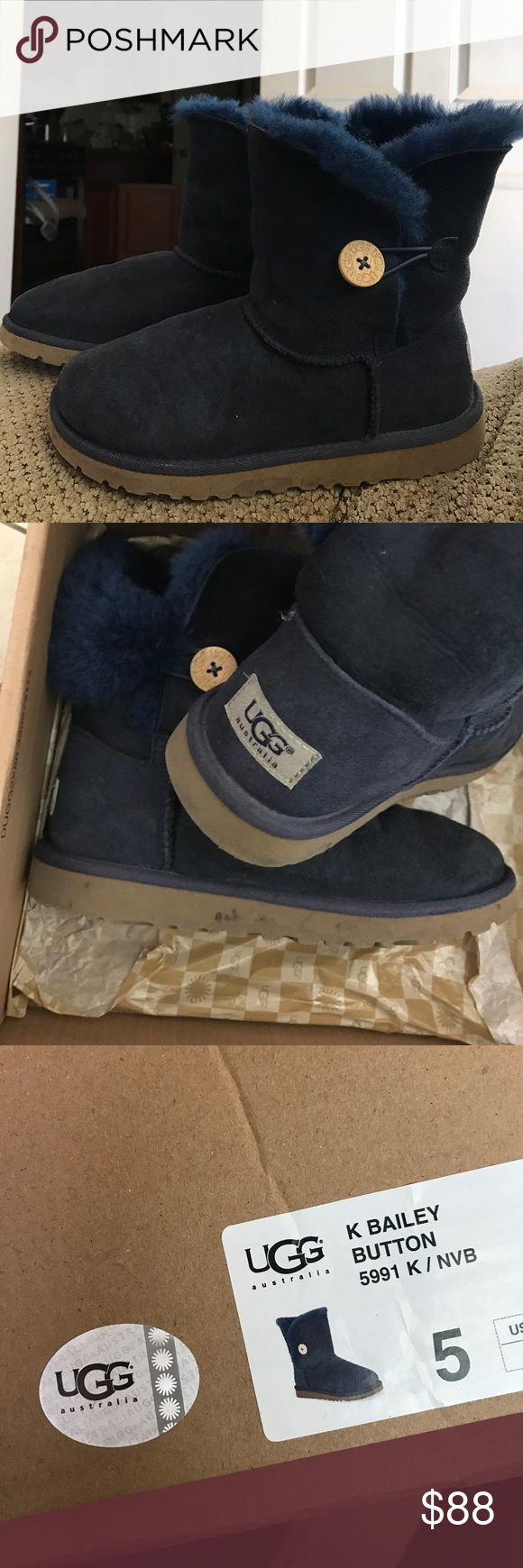 Navy Blue Ugg Boots Navy blue Ugg boots with button, used UGG Shoes Winter & Rain Boots