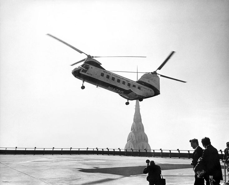A New York Airways helicopter lands at the heliport on top of the Pan Am Building (now MetLife) in New York City, 1965 [1024x829]