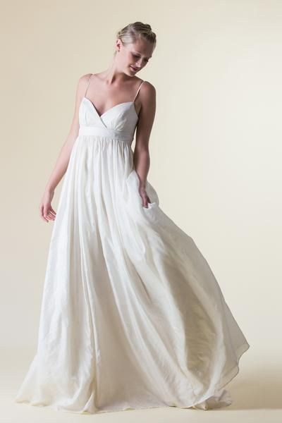 Fair Trade, Eco, Indie & Ethical handmade wedding dress with eco silk & pockets & empire waist & strapsFair Trade, Eco, Indie & Ethical handmade wedding dress with pink wedding gown color & natural waist & open back