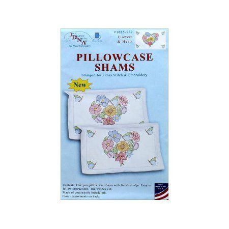 Jack Dempsey Pillowcase Sham Flowers & Hearts, Multicolor