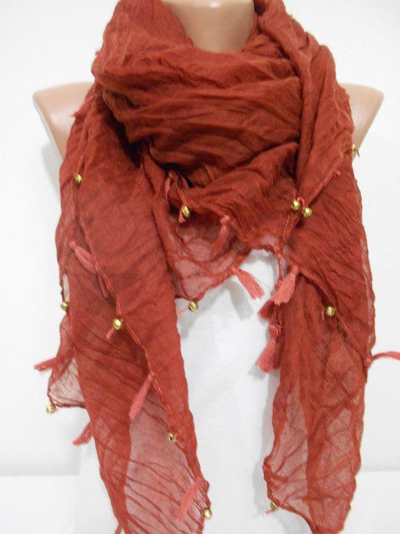 Tassel Cowl Scarf Shawl Cinnamon Brown Boho Scarf with Golden Beads Bohemian Scarf Gift Ideas For Her Women Fashion Accessories, SCARFCLUB