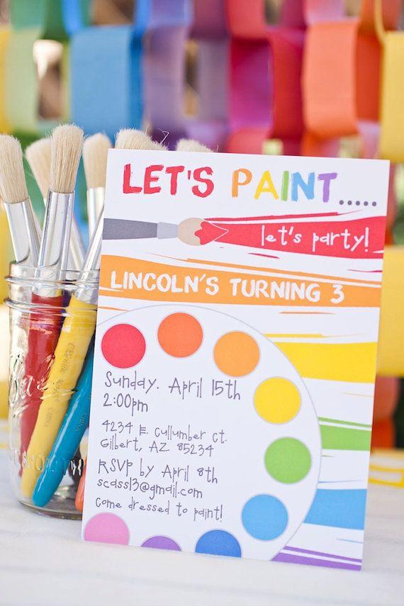 PARTY PRINTABLE - Rainbow Art Paint Party Printable Birthday Invitation - Petite Party Studio via Etsy