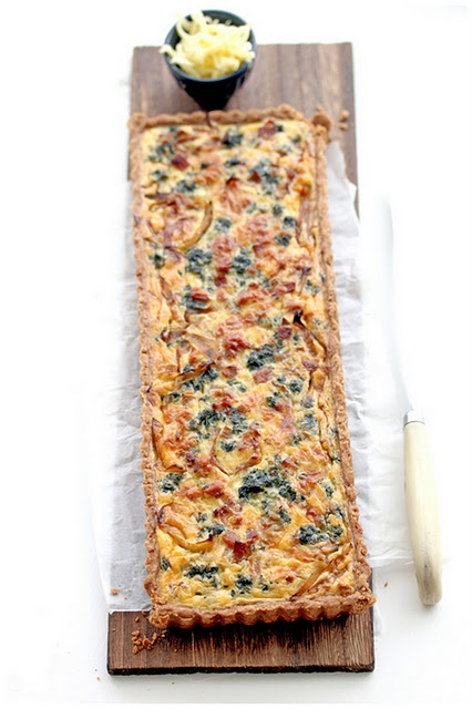 Bacon, Caramelized Onion, and Spinach Quiche