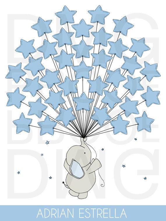 Baby stampabile doccia elefante ospiti segno nel Consiglio 18 x 24