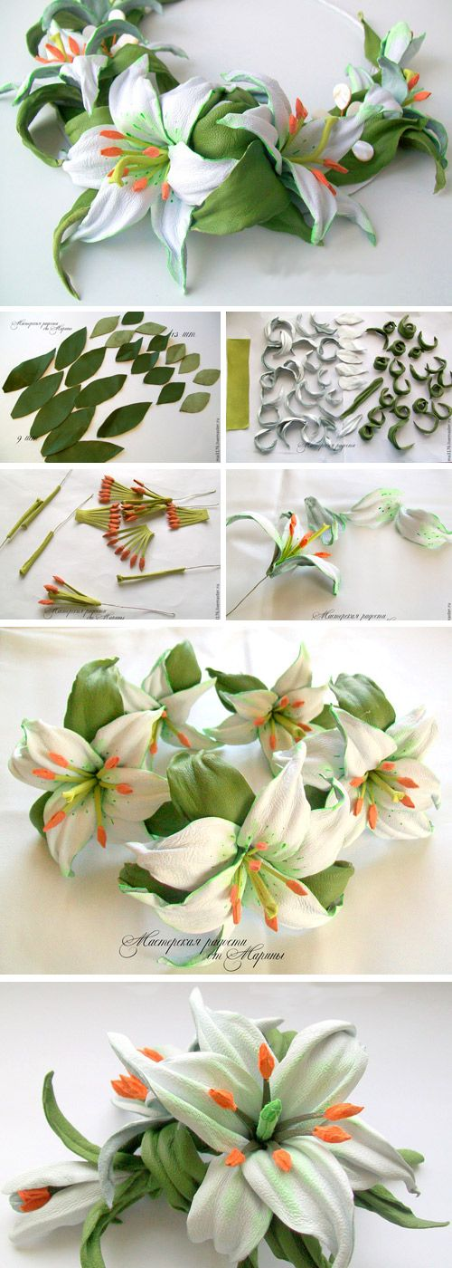 DIY Necklace for a Bride: Tenderness of Lilies. Tutorial http://www.handmadiya.com/2017/04/decoration-from-lily-flowers.html