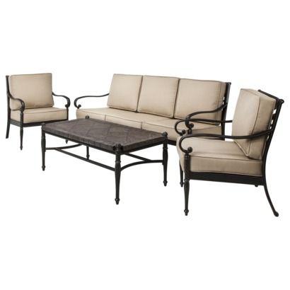 Kent 4 Piece Metal Patio Conversation Furniture Set Beige