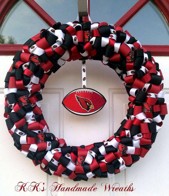 Arizona Cardinals Ribbon Wreath 16 by KKsHandmadeWreaths on Etsy, $45.00
