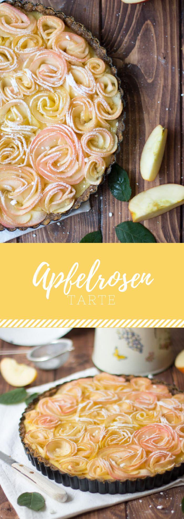 Apfelrosen-Tarte. Die Äpfel sehen aus wie kleine Rosen. Damit ist es das perfekte Rezept für Frühling oder Herbst.