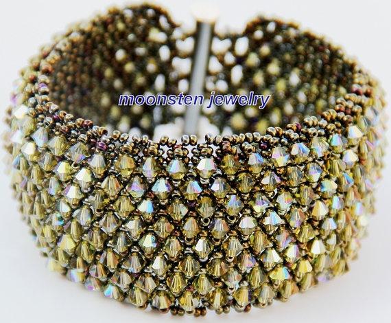 Swarovski crystal handmade bracelet by Moonstenjewelry on Etsy, $60.00