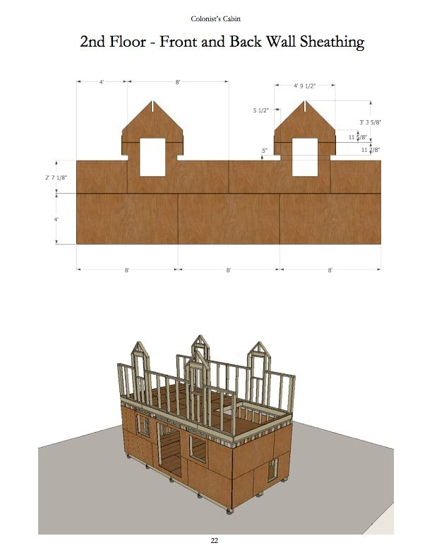 Colonists Cabin V1 2nd Floor Front And Back Wall Sheathing P22 Cabin Sheathing Flooring
