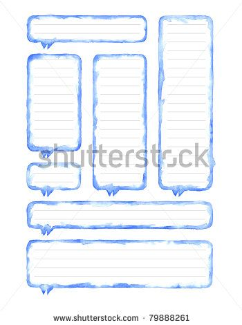 All my aquarelle drawings http://www.shutterstock.com/sets/16601-watercolor-painting.html — Watercolor blue blank speech bubble dialog with gray lines for notes on white background