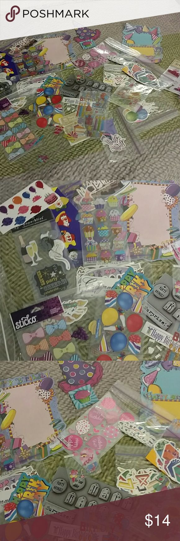 Scrapbooking stickers birthday New and like new scrapbooking bundle stickers and cutouts birthday themed. I also offer local pickup only on other websites if that's something you're interested in please feel free to contact me. Thanks you have a wonderful day Other