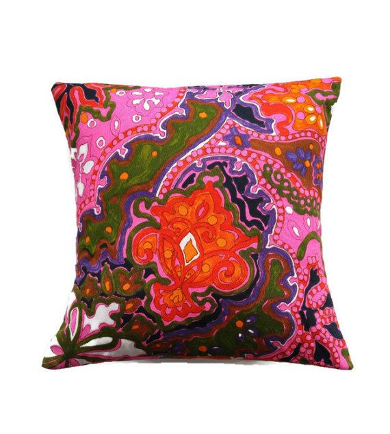 Pink Orange Pillow Cover/Hot Pink and Multicoloured Cushion