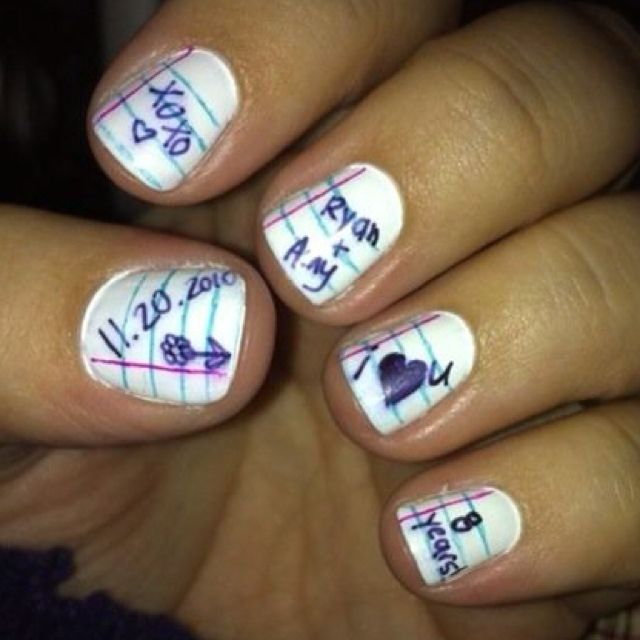 My anniversary nails- my husband and I used to write notes back and forth in high school. <3