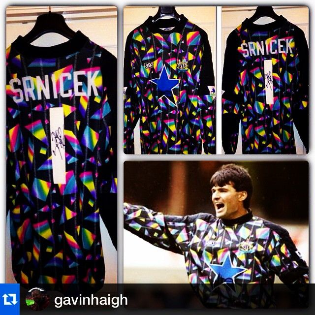 #Repost Newcastle, Asics, 1993/4 from @gavinhaigh ・・・The 90s was a great era for goalkeeper shirts.  And nothing says 90s more than a Pavel Srnicek signed NUFC match worn 1993/94 Goalkeeper shirt. #pavelisageordie #nufc #newcastle #matchworn #mags #memories #90s #legend #newcastle #90sfootball #asics #asicsfootball #premiership #keegan #football #footballshirt #soccer #soccershirt #goalkeeper #goalkeepershirt