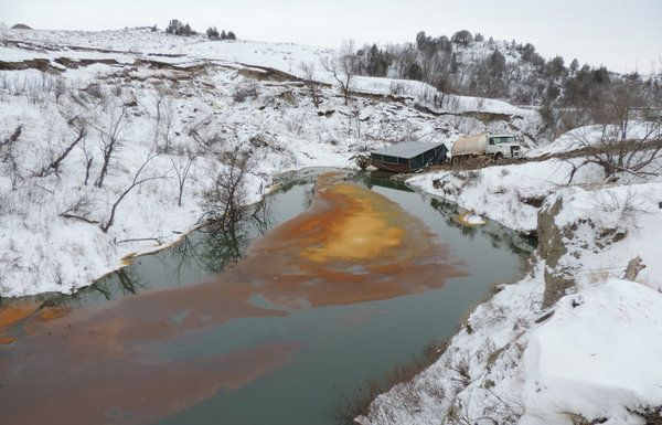 A crude oil pipeline in western North Dakota has leaked nearly 200,000 barrels of oil. The scene is about 150 miles west of where protesters have been fighting the Dakota Access pipeline.