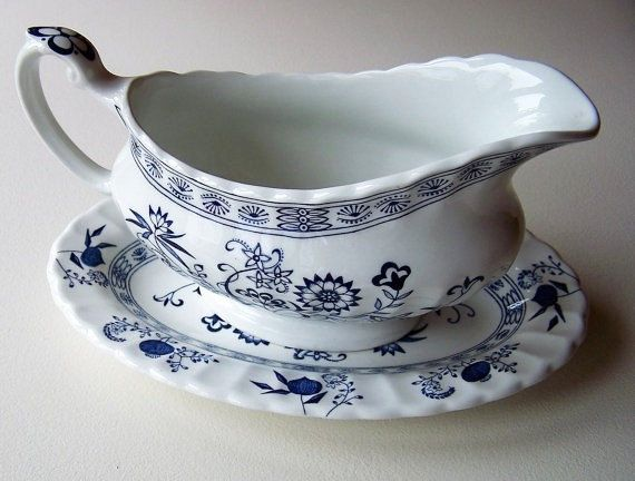 Sale J & G Meakin Blue Nordic Sauce/Gravy Boat and by IngliVintage