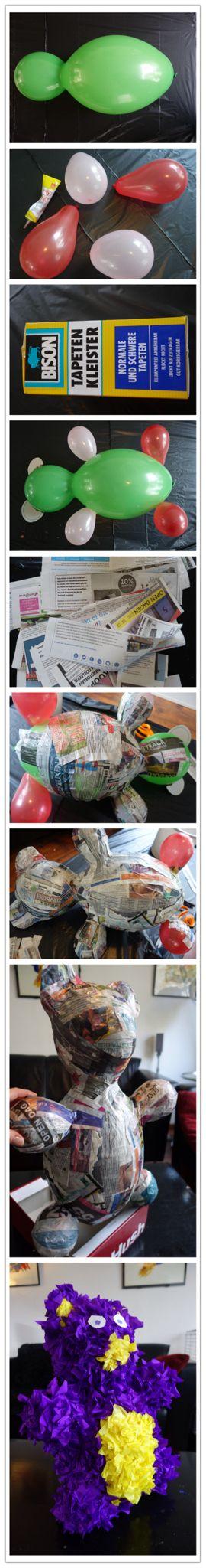 Pinata maken met papier mache en crêpe papier.