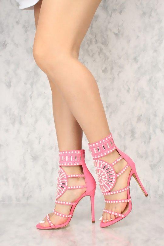 69277f530f4 Sexy Hot Pink Gemstone Pattern Open Toe Single Sole High Heels Faux ...