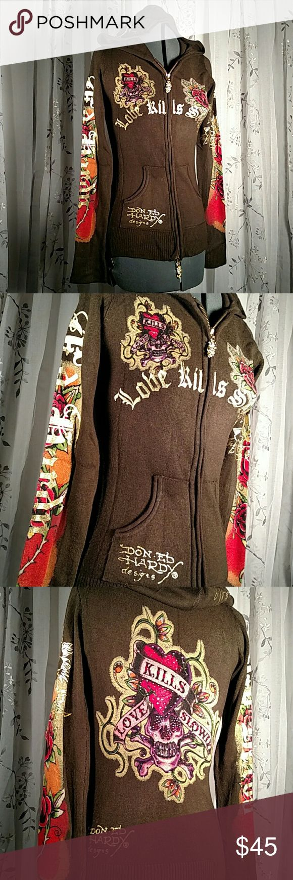 Ed Hardy Brown, Gold, and Multi Tunic Sweater Ed Hardy brown, gold, and multi color zip up tunic sweater! Gold accents all over sweater! Fitted to perfection! Signature Ed Hardy logo on front and hood of sweater! Like brand new!! Ed Hardy Sweaters