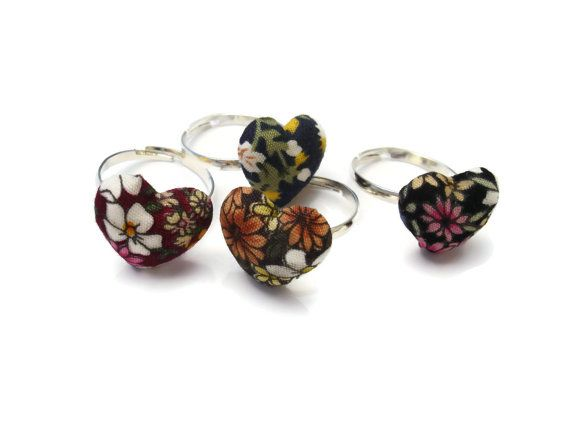 Floral Heart Adujstable Rings Small Heart Fabric Ring by ScrapCati