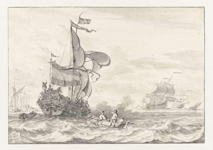 Ludolf Bakhuysen | Admiraliteitsjacht op weg naar een voor anker liggende vloot, Ludolf Bakhuysen, 1641 - 1708 | Een jacht met rijk versierde spiegel, op weg naar een op de rede liggende vloot, vuurt een saluutschot af. Op de voorgrond is een roeiboot met drie mannen te zien.