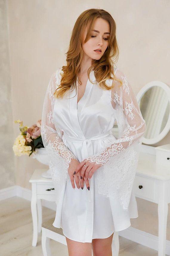 Bride robe Wedding robe for bride Bridal kimono robe Bridal robe ...