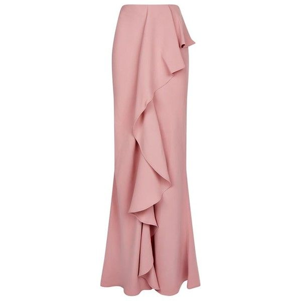 Alexander McQueen Drape Silk Asymmetric Maxi Skirt (€2.530) ❤ liked on Polyvore featuring skirts, draped skirt, draped asymmetrical skirt, long red skirt, red ruffle skirt and maxi skirt