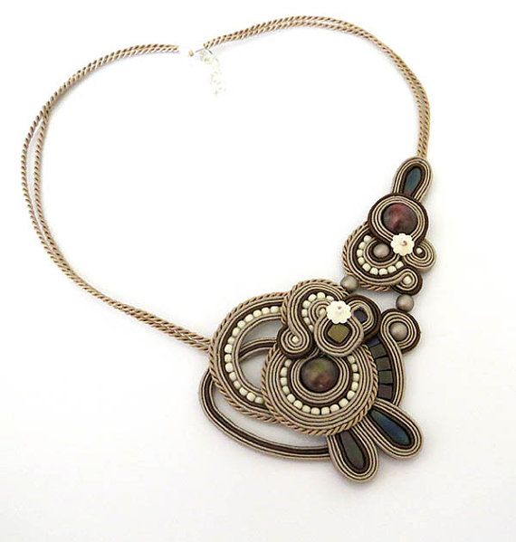 Statement beige brown necklace soutache OOAK soutache by sutaszula