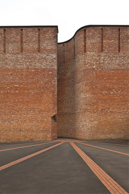 Gillespie Kidd & Coia Architects..beautiful colouring of the lines and the brickwork, plus the curve of the build...AJ