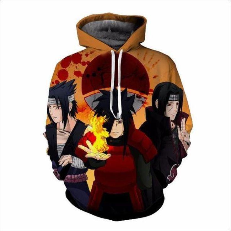 All 3 uchiha 3d printed naruto hoodie naruto hoodie